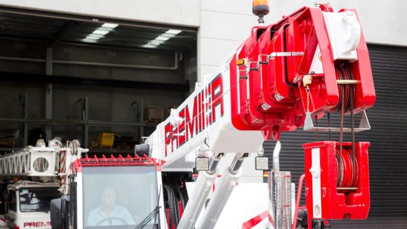 Close up of a Premier Cranes & Rigging crane arm