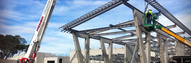 Premier Cranes steel erection